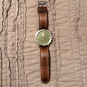 Men's Fossil watch with olive green face